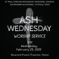 Ash Wednesday Church Worship Service Flyer Instagram Post template