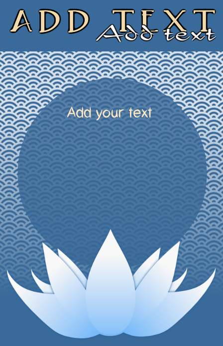 Asian Blue Lotus Flower And Japanese Sea Pattern Wedding Template
