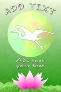 asian crane bird flying - pink lotus flower -poster template