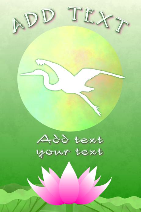Asian Crane Bird Flying Pink Lotus Flower Poster Template