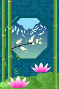 asian garden design or landscaping poster template with lotus and bamboo