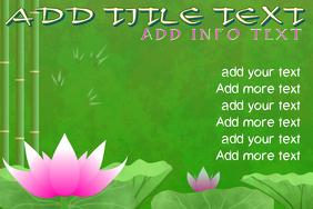 asian garden template pink lotus and bamboo