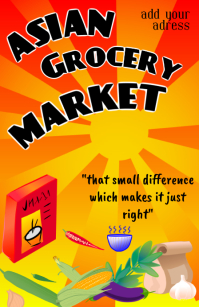 asian grocery market - food store or shop tab