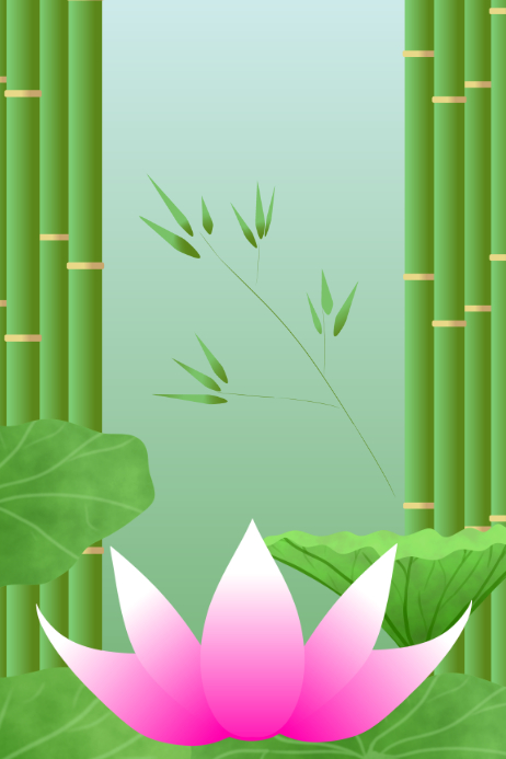 Asian lotus flower and bamboo stem and leaves garden