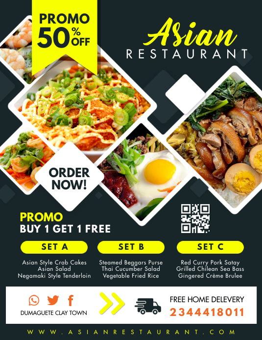Asian Restaurant Takeout Delivery Flyer template