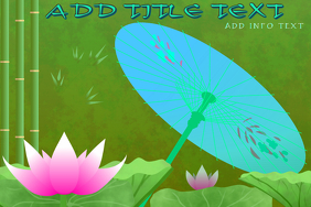 asian umbrella pink lotus and bamboo - template to customize