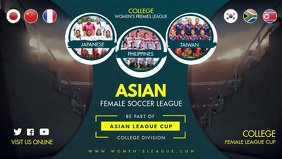 Asian Young Women's Football Game Tryouts Fac วิดีโอหน้าปก Facebook (16:9) template