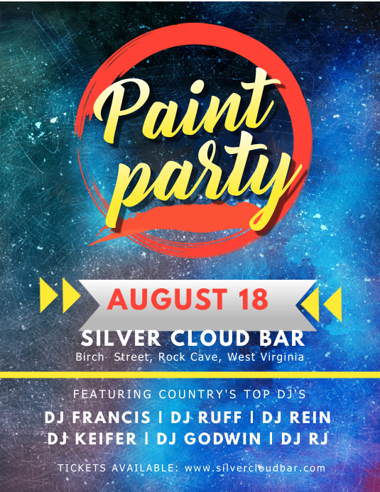 Astral Paint Night Bar Party Flyer Template
