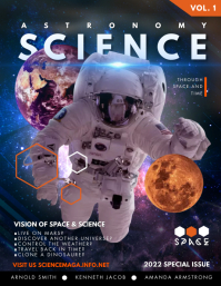 Astronaut Science Magazine Cover Flyer Templa template