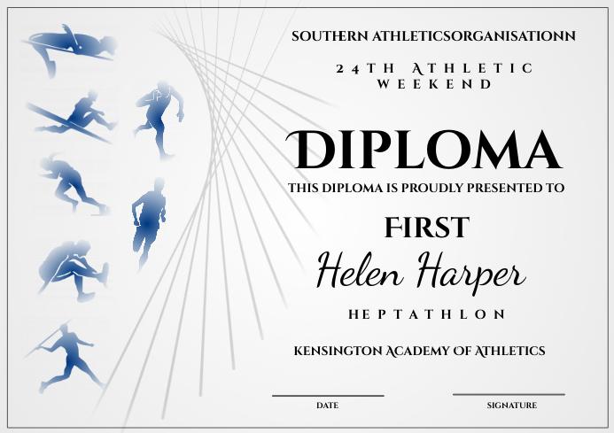 Athletic diploma heptathlon