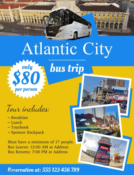 Atlantic City Bus Trip Poster Template