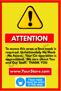 Attention - Face Masks Poster template