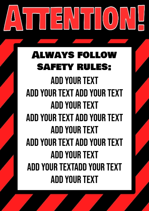 attention follow procedure sign, safe rules