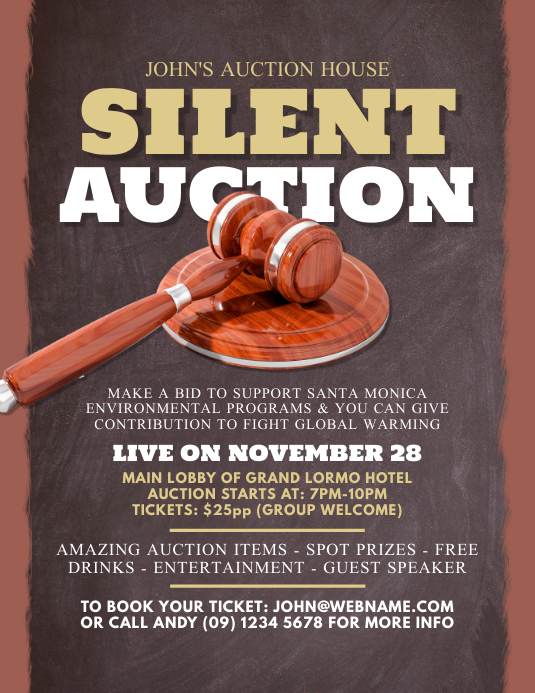 auction event flyer customize template