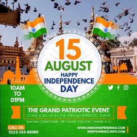 August 15th Independence Day Invite Square (1:1) template
