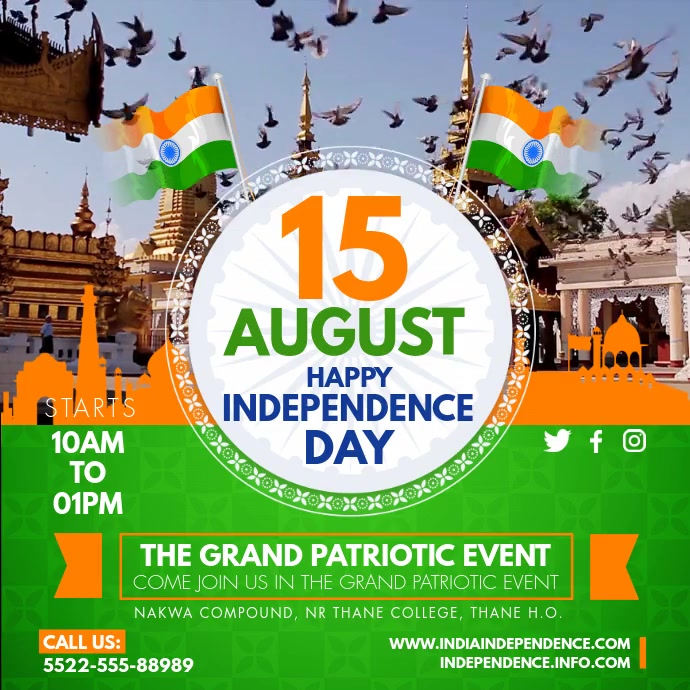August 15th Independence Day Invite 方形(1:1) template
