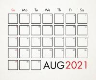 August 2021 Calendar Template สามเหลี่ยมขนาดกลาง