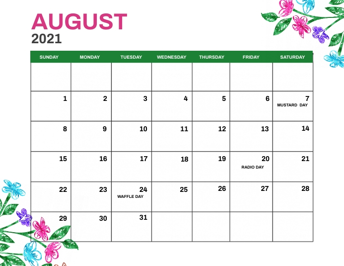 August 2021 Monthly Events Calendar Template Flyer (Letter pang-US)