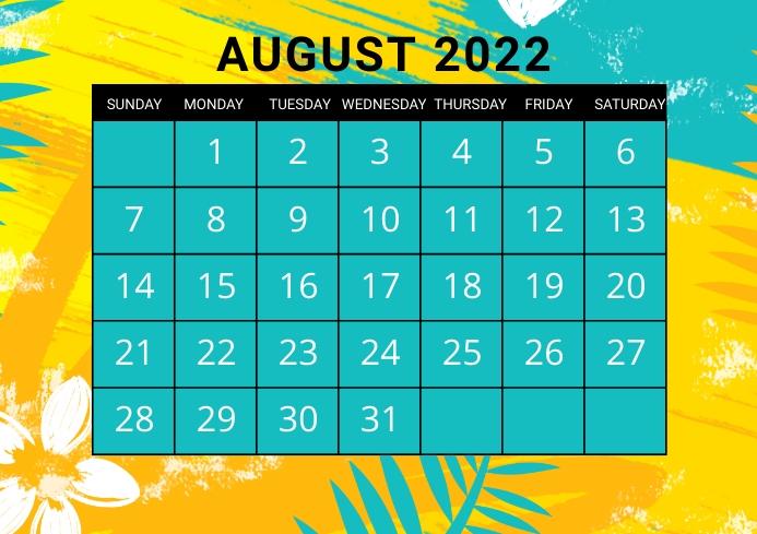 August calendar, event,schedule A4 template