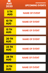 AUGUST EVENTS SCHEDULE Poster template