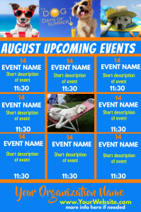 August Upcoming Events Calendar -Dog Days
