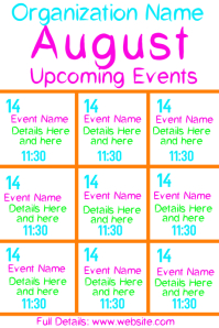 August Upcoming Events