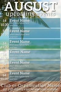 August Upcoming Events Video Calendar Plakat template