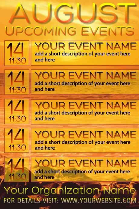 August Video Upcoming Events Calendar Poster template