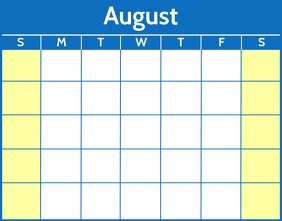 August Word Calendar Template Poster/Wallboard