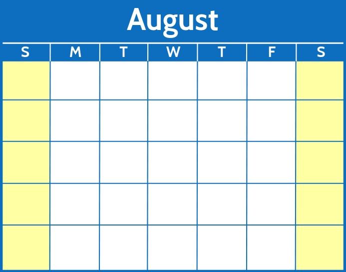 August Word Calendar Template Poster/Wallboard