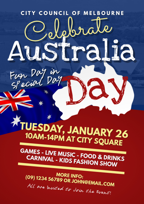 Australia Day Event Flyer Template A4