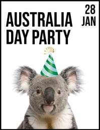 Australia Day party Løbeseddel (US Letter) template
