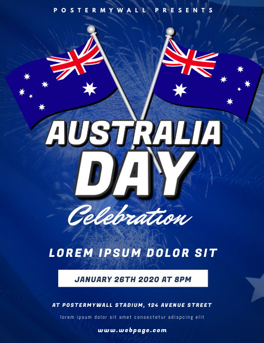 Australia Day Party Flyer Design Template