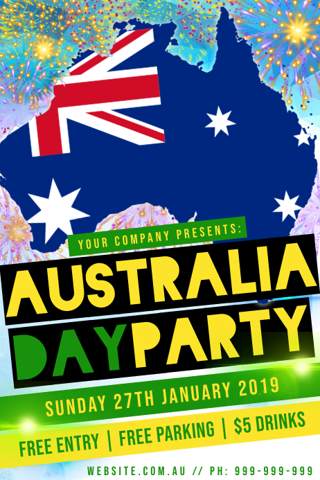 Australia Day Party Poster template