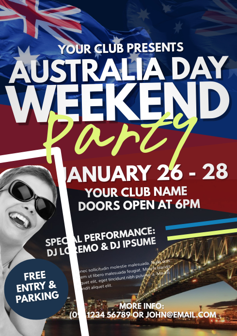 Australia Day Party Flyer Template