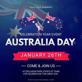 Australia Day Video Invitation Square (1:1) template