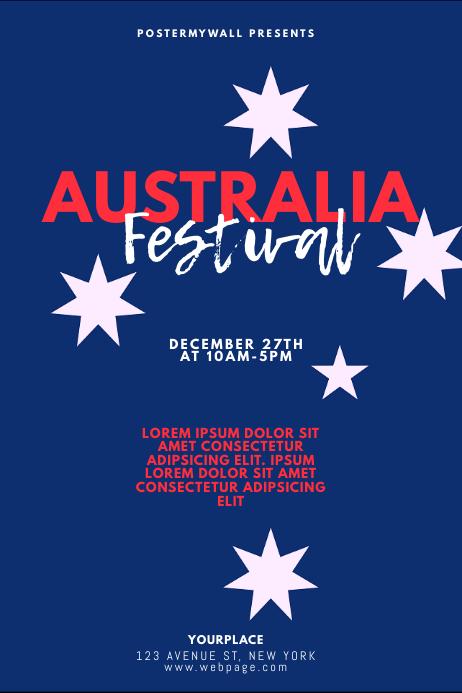 Australia Festival Flyer Design Template Poster