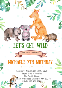 Australia zoo birthday party invitation