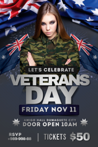Australian Veteran's Day Party Flyer Plakkaat template