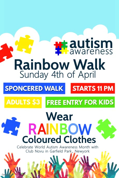 Autism awareness flyer, World Autism Day Póster template