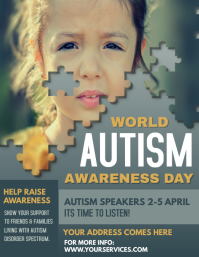 Autism awareness flyer, World Autism Day