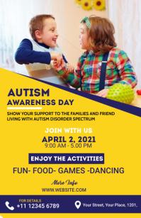 Autism Awareness Flyer Media Página Ancho template