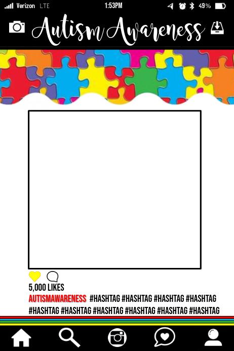 Autism Awareness Party Prop Frame
