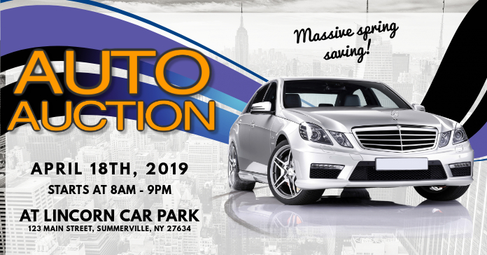 Auto Auction Flyer Facebook 广告 template