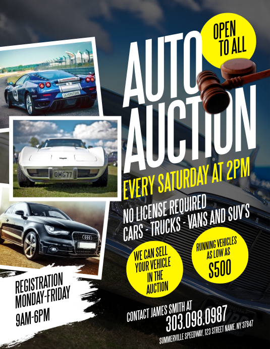 Auto Auction Flyer Løbeseddel (US Letter) template