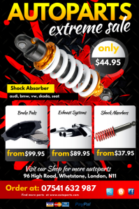 Auto Parts Extreme Sale Poster template