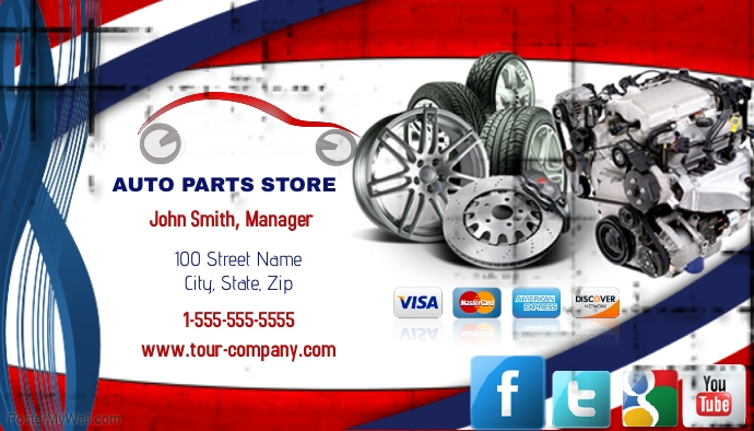 Auto parts store business card template postermywall auto parts store business card reheart Gallery
