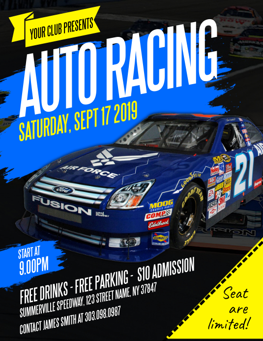 auto racing flyer template postermywall