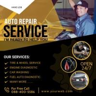 Auto Repair Service Flyer Poster Template Quadrat (1:1)