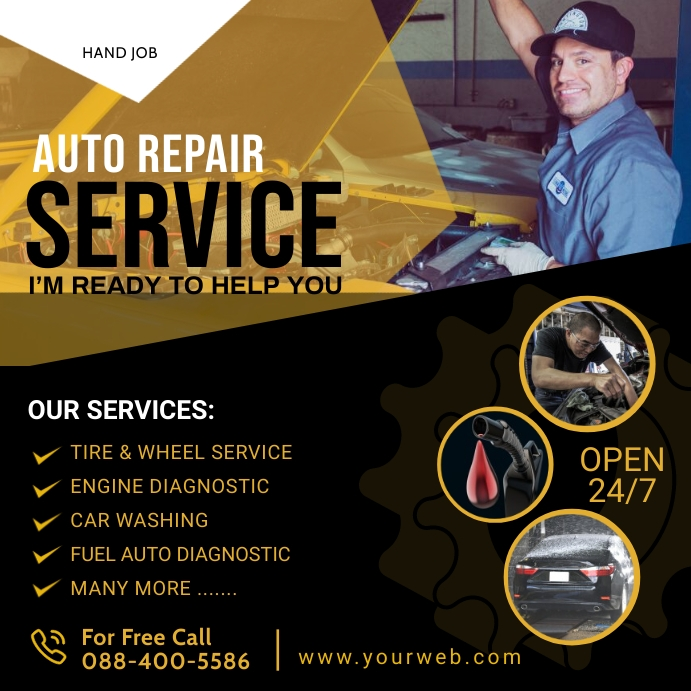 Auto Repair Service Flyer Poster Template Cuadrado (1:1)
